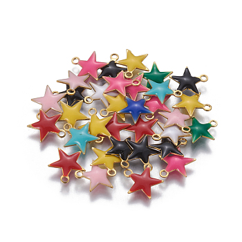 Brass Enamel Charms, Enamelled Sequins, Star, Golden, Mixed Color, 10.5x10x1.7mm, Hole: 1.4mm