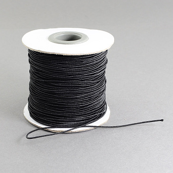 Round Elastic Cord, with Nylon Outside and Rubber Inside, Black, 3mm; 25m/roll