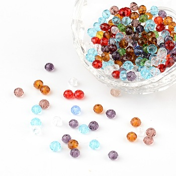 Faceted Rondelle Transparent Glass Beads, Mixed Color, 4x3mm, Hole: 1mm