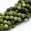 Round Frosted Natural TaiWan Jade Bead StrandsG-M248-12mm-02-2
