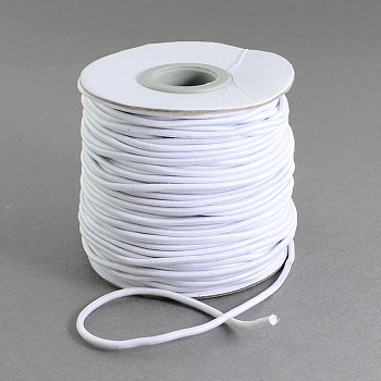 Round Elastic Cord, with Nylon Outside and Rubber Inside, White, 1.2mm; 100m/roll